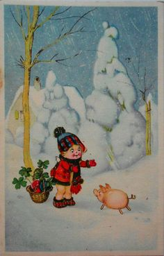 FRITZ BAUMGARTEN - Kleiner ENGEL mit Körbchen begrüßt ein Schweinchen - c1945 | eBay