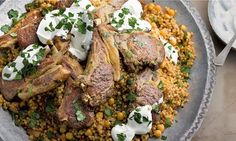 Yotam Ottolenghi's braised lamb with maftoul (or couscous) and chickpeas recipe Couscous Recipes, Chickpea Recipes, Lamb Recipes, Healthy Recipes, Healthy Food, Healthy Eating, Ottolenghi Recipes, Yotam Ottolenghi, Campbells Recipes