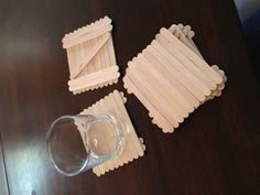 Popsicle stick coasters All you need for 1 coaster: 15 popsicle sticks Super glue (10 for the top and 5 for the bottom for better support)