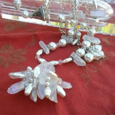 Please Pin if you like this new design!   Sizzling Summer Sale!   #blingbeadedbaubles   Check out 20% OFF Summer Sale!!!! Use Code: 20OFF  Pearl & Quartz Bridal Statement Necklace, Handmade, Chunky, Bib, Collar, Wire Wrapped Necklace