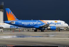 Allegiant Air (US) Airbus aircraft, painted in ''Make a Wish'' special colors Nov. rolling at USA, Florida, Orlando Sanford Int'l Airport. Allegiant Air, Line Photo, Commercial Aircraft, Aviation, Airports, Spacecraft, Airplanes, Orlando, Florida