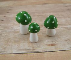 Trio of Green Toadstools Fantasy Figurine or Toadstool Terrarium Decoration Made to Order on Etsy, $10.00