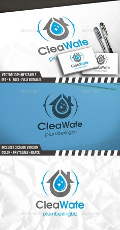 Plumber Clean Water Logo by BossTwinsArt Package Three color version: Color, greyscale and single color. The logo is 100% resizable. You can change text and colors very ea