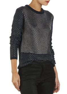 Pull maille lurex Bleu by MAJE