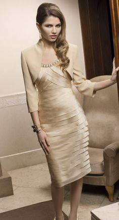 Chic Knee-length Sheath Mother of the Bride Dress with Crystals and Bolero Jacket, Quality Unique Mother of the Bride Dresses Cheap Wedding Dress, Wedding Party Dresses, Bridal Dresses, Bridesmaid Dresses, Dress Prom, Wedding Suits, Homecoming Dresses, Mother Of Groom Dresses, Mothers Dresses