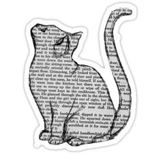 """""""cat reading book sticker"""" Stickers by Zelius Stickers Cool, Tumblr Stickers, Cat Stickers, Printable Stickers, Laptop Stickers, Making Stickers, Free Printable, Journal Stickers, Planner Stickers"""