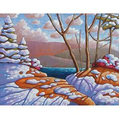 Art Print Winter Giclee by Cathy Horvath 8x11 Modern Folk Art Snow Melt Blue Lake Pine Tree Shadows Landscape Artwork Archival Reproduction
