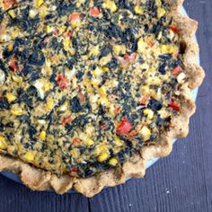 Vegan quiche with Swiss chard, corn and red peppers. Even your non-vegan friends will love it!