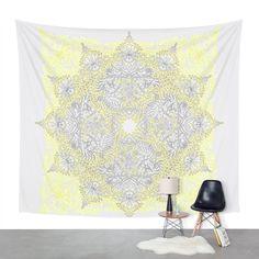 "Amazon.com - Society6 Sunny Doodle Mandala In Yellow & Grey Wall Tapestry Large: 88"" x 104"" -"