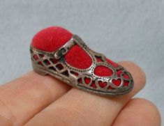 Tiny Sterling Silver Pierced Sterling Silver Shoe Pincushion