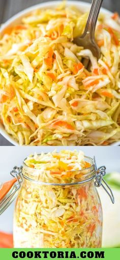This Easy Pickled Cabbage is crunchy, tangy, sweet, and seriously addicting. Its easy to make and ready to eat in about 12 hours. Cooktoria for more deliciousness! Healthy Salad Recipes, Vegetable Recipes, Vegetarian Recipes, Vegan Vegetarian, Pickled Cabbage, Cabbage Salad, Fermentation Recipes, Canning Recipes, Pickled Vegetables Recipe