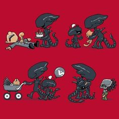 "image by Chibi Horror ( with caption : ""Oh tiny Yautja, that's not right! Arte Alien, Alien Art, Aliens Funny, Aliens Movie, Giger Alien, Horror Drawing, Non Plus Ultra, Japanese Monster, Predator Alien"