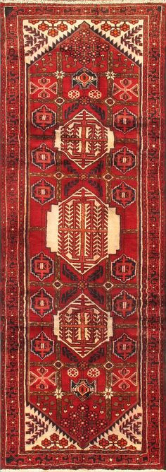 """Item 5847 : Hand-Knotted Gharajeh Red Wool Rug 3'6"""" X 10'3"""" 
