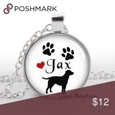"Custom Labrador puppy name necklace pet  jewelry Give this Unique Necklace as a Gift or add it to your own Personal Collection!  Includes a 22 Inch Matching chain and comes in an adorable gift bag, ready to give!  Just leave the name of your pet at checkout and I will customize this necklace for you.   Featuring our ""custom Labrador "" Pet Pendant  This Charm is 1 Inch in size with Beautiful Artwork sealed under Glass so its magnified & amplified! Just Beautiful in person! Image is Enlarged…"