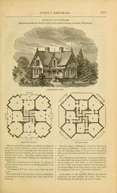Samuel Sloan group of four cottages - perspective with first & second story plans - Godey's lady's book 1861 Jan -June; Jul - Dec by Hale, Sarah Josepha, 1788 - 1879; Godey, Louis Antoine, 1804 - 1878 (eds.) Publication date 1861
