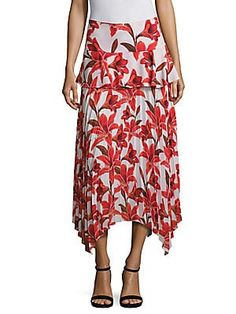 401e9c6728 John Mark Tiered All Over Floral Embroidery Crinkle Midi Skirt in 2019