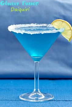 an apple based Daiquiri with a hint of Blue Curaçao that makes this drink a beautiful turquoise, just like the ice on a glacier!