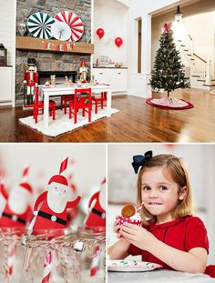 Tis' the season for Christmas parties covered in red Santa spirit and snowy winter shimmer! And this year for her annual gingerbread house decorating party, Erin Walker of Undercover Hostess designed a Jolly North Pole Inspired Kids Holiday Party that is so merry & cute I wish I could pinch its cheeks! Think sparkly blue snowflake cookies, happy reindeer popcorn cups, and mini stocking chair backs for a start... PARTY HIGHLIGHTS to look out for: – Dancing Santa straws + milk bottles…