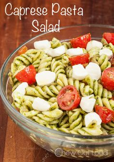 Caprese Pasta Salad - All pure, refreshing, and healthy ingredients!  Make-ahead.  Keeps well!  YUM.