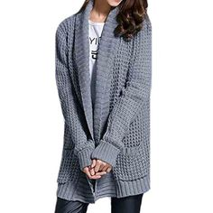 Womens Casual Lapel Knitted Loose Pocket Cardigans Sweaters * See this great product. (This is an affiliate link) #Sweaters