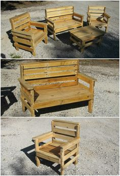 12h of work and 100% recycled pallet wood for this garden set (2 chairs, one bench and one coffee table). …