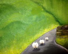 Follow the Leader  Artist: Nancy Despins  Acrylic on Canvas Follow The Leader, Pear, Canvas, Prints, Artist, Blue, Painting, Tela, Artists