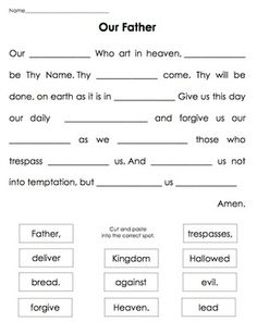 Our Father - cut & paste.Simple cut and paste to learn key words in the prayer Our Father. Our Father - cut & paste.Simple cut and paste to learn key words in the prayer Our Father. Sunday School Kids, Sunday School Activities, Bible Activities, Sunday School Lessons, Sunday School Crafts, Church Activities, School Staff, Catholic Religious Education, Catholic Kids