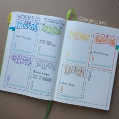 Ready for a new colorful week . Bullet Journal Font, Bullet Journal Printables, Bullet Journal Junkies, Bullet Journal School, Bullet Journal Ideas Pages, Bullet Journal Inspiration, Journal Pages, Journals, Bullet Journal Calendrier