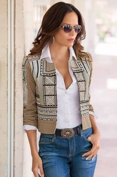 Embroidered Crop Jacket,Fashion and style go hand-in-hand when you wear this crop jacket with distinctive geometric embroidery and stud detailing on the front and sleeves. Black Suit Black Shirt, Black Mesh Crop Top, Backless Shirt, Look Blazer, Blazer Jacket, Casual Tops For Women, Look Fashion, Chic Outfits, Casual Chic