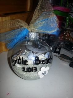 made an ornament with leftover stuff from our trip to Myrtle Beach