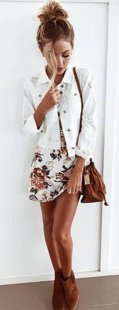 #summer #outfits  White Floral Little Dress