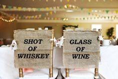 "This pair of hand painted burlap ""Shot of Whiskey"" and ""Glass of Wine"" wedding chair cover signs are the perfect rustic wedding addition. Made to universally fit MOST standard banquet chair sizes. Each sign is left open on the sides for that perfect rustic burlap look. Includes two lace ties ..."