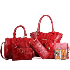 46.99$  Watch here - http://alin92.worldwells.pw/go.php?t=32644586158 - 2017 Vintage Women Bag Set Crocodile Handbag Girls Bag For Women Patent PU Leather Bolos Feminina fashion bag WB022