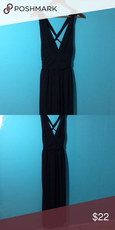 Black Maxi Gown with Criss Cross Back Reposh. Black Maxi Gown with Criss Cross Back. Best for A or B cup Polyester. Lined. Link Landscape Dresses Maxi