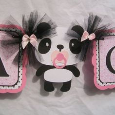 Panda baby shower banner, its a girl banner, pink, black and ... More