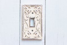 Decorative Switch Plate Creamy Antique White Switch Plate-Cast Iron Single Switch Light Switch Plate-Shabby Chic Electrical Plate Cover