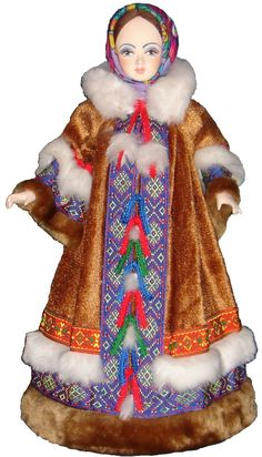 Doll in Russian winter costume.
