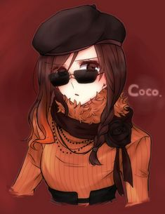1girl beret braid brown_eyes brown_hair character_name coco_(rwby) flower gradient_hair hat jewelry long_hair merry_(168cm) multicolored_hair necklace open_mouth orange_hair red_background rose rwby scarf single_braid solo sunglasses sweater