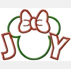 Joy Miss Mouse Christmas Machine Applique Embroidery Design, multiple sizes- including 4 inch, $3.75