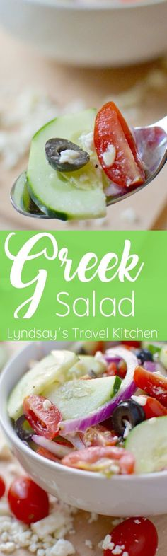 Learn how to make this Greek Salad from www.Lyndsaystravelkitchen.com
