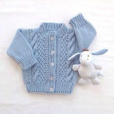 f5dc41f61e40 Knitted blue baby cardigan Baby knit sweater 0 by LurayKnitwear