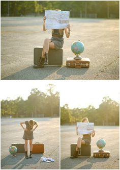 I love the travel/adventure/moving theme. Suitcases, maps and globes are fun props, and I especially like when the subject is dressed up in contrast to the background.