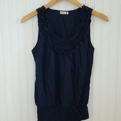 Navy blue ruffled top Excellent condition Mine Tops Tank Tops