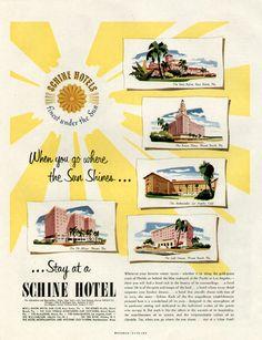 Vintage 1950s Schine Hotels Ad
