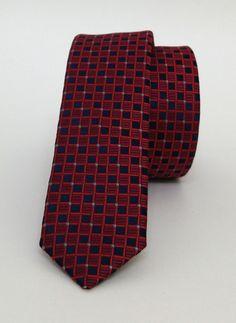 Red and Dark Blue Dotted Mens Tie 4 cm (1,57 #handmadeatamazon #nazodesign