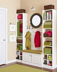 Love the idea of using purchased bookcases, etc., together to look like built-ins. DIY home improvement for a mudroom: 35 dollars for the two bookcases, and some baseboard trim to make it look like a great built in. All this can be purchased at Lowes. Billy Regal, Baseboard Trim, Baseboards, Diy Casa, Ideas Para Organizar, Wall Storage, Storage Ideas, Entryway Storage, Organized Entryway