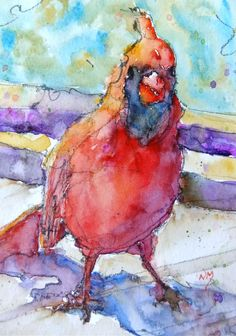 """caught red handed""  watercolour by Nora MacPhail"