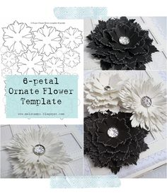 Mel Stampz: 6-petal Ornate Flower template | Can be printed out and cut by hand or there are several cutting templates for your cutter!  Awesomeness!