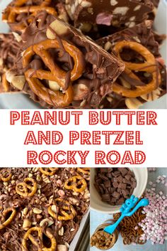 No bake Peanut Butter and Pretzel Rocky Road. Soft and squishy marshmallow combined with crunchy peanut, salty pretzels and creamy chocolate for a taste and texture sensation. Pretzels add an extra crunch to this already decadent yet easy to make peanut butter chocolate tiffin fridge cake.