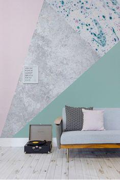 Pink & Green Geometric Wall Mural